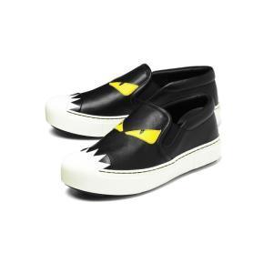 FENDI フェンディ スリッポン BLACK+WHITE BLACK+SUNFLOW ブラック[8E5110 4RU F0700]|importshopdouble