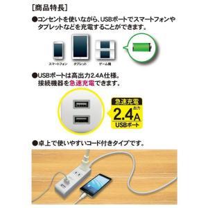 USB2個口付き コンセント2個口 電源タップ...の詳細画像3