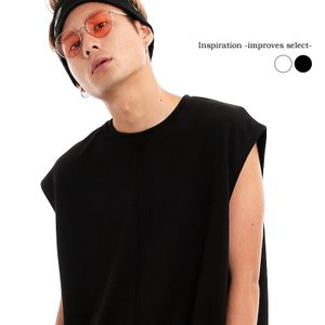 Inspiration improves select ビッグシルエット ノースリーブ カットソー 重ね着 モード 韓国 ファッション メール便対応|improves