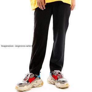 Inspiration - improves select - スラックス メンズ ウエストゴム ストライプ 柄 アンクル丈 アンクルパンツ ストリート インプローブス 韓国 ファッション|improves
