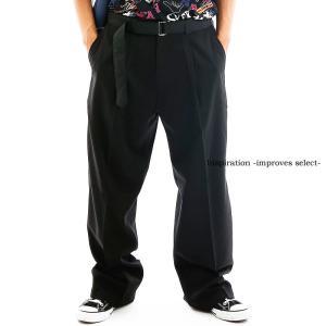 Inspiration - improves select - ベルトパンツ メンズ ベルト付き ワイドパンツ センタープレス 大きい ゆったり ストリート インプローブス 韓国 ファッション|improves