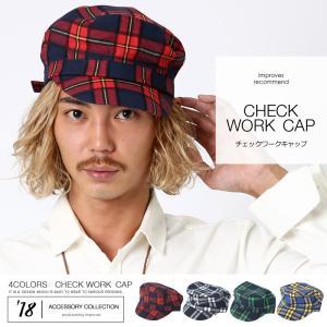 キャップ ワークキャップ チェック 柄 チェック柄 ワーク アメカジ コットン 綿 帽子 メンズ improves インプローブス|improves