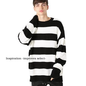 Inspiration improves select ニット ボーダー セーター  ロング丈 ビッグサイズ メンズファッション メンズ 秋服 冬服 秋冬 インプローブス 韓国 improves