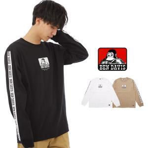 BEN DAVIS ベンデイビス 長袖 Tシャツ メンズ ブランド ロゴ 袖プリント ロングTシャツ ロンT ロンティー ベンデービス 白 インプローブス improves|improves