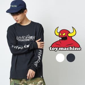 TOY MACHINE トイマシーン ロンT メンズ レディース Tシャツ 長袖 ロングTシャツ ロンティー ロゴ 袖 プリント クルーネック カットソー スケーター ブランド 白|improves