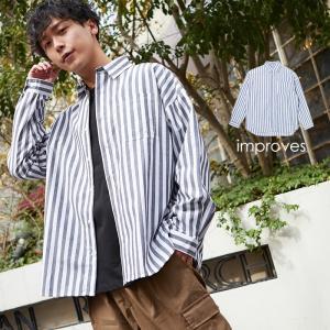 ストライプシャツ メンズ レディース ビッグシルエット シャツ 長袖 ビッグシャツ オーバーサイズ ロング丈 長袖シャツ おしゃれ 黒 白 インプローブス improves|improves