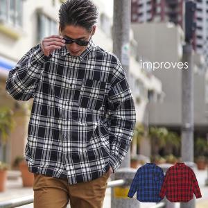 チェックシャツ メンズ レディース ビッグシルエット シャツ 長袖 ビッグシャツ オーバーサイズ ロング丈 長袖シャツ おしゃれ レッド インプローブス improves|improves