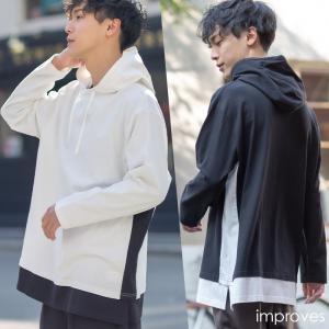 フード パーカー ビッグTシャツ メンズ 長袖 ビッグシルエット オーバーサイズ Tシャツ ロンT ロング丈 カットソー 白 黒 インプローブス improves|improves