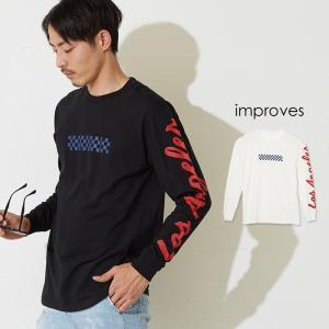 ボックスロゴ 袖プリント ロンT メンズ Tシャツ 長袖 ロンティー ロングTシャツ カットソー ストリート サーフ系 ホワイト インプローブス improves|improves