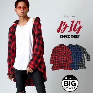 チェックシャツ メンズ ビッグシルエット ネルシャツ 長袖シャツ ロング丈 アメカジ 10代 20代 大きいサイズ おしゃれ 赤 青 黒|improves