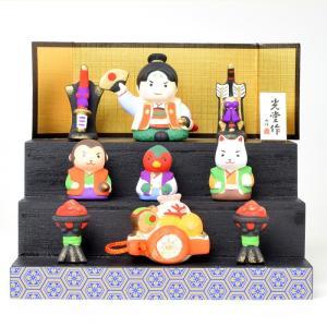 五月人形 コンパクト 薬師窯 錦彩段飾り 桃太郎 コンパクトサイズ お祝い 端午の節句 送料無料 ギフト|inababutudanten