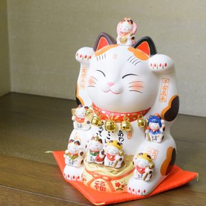 錦彩七福神 招き猫 20号|inababutudanten