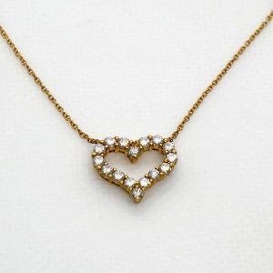 【中古】ティファニー TIFFANY&Co. センチメンタル ハート ネックレス スモール レディース ダイヤモンド  750 YG|inage78