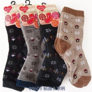靴下 レディース 冷えとり毛混 裏シルク二重編みソックス 口ゴムゆったり クルーソックス 柄別色おまかせ4足セット|inasaka|25