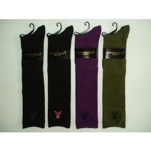 靴下 レディース 婦人色おまかせ3足セット 綿混ドクロ柄 ハイソックス 23−25cmこれからの季節に最適|inasaka