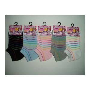 靴下 子供 キッズ 色おまかせ4足セット女児のびのびボーダー柄 底パイル スニーカーソックス ずれにくいカカトYヒール|inasaka