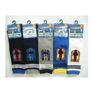 靴下 子供 キッズ 新生活応援セール 男児のびのびワッペン柄 ハイソックス 3足セット16-22cm|inasaka