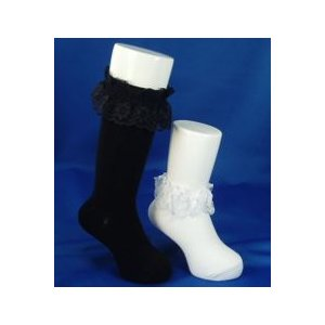 靴下 日本製 子供 3足セット のびのびレース付ソックス ハイソックス 16-22cmフォーマルに最適 日本製|inasaka