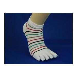 靴下 メンズ 紳士 色おまかせ3足セット 5本指細ボーダー柄 メッシュスニーカーソックス 色違い3足セット  爽やかメッシュ inasaka