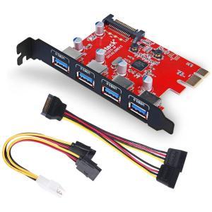 4ポートUSB3.0増設ボード UASP対応 補助電源ケーブル付き PCIex1 Rev.2用インタ...