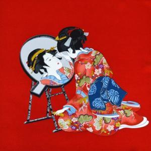 風呂敷 ふろしき 京ちりめん 二巾 約68cm 浮世絵柄 鏡美人 赤 1869#101|inazumashop