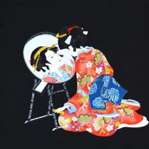 風呂敷 ふろしき 京ちりめん 二巾 約68cm 浮世絵柄 鏡美人 黒 1869#601|inazumashop
