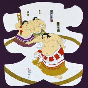 風呂敷 ふろしき 京ちりめん 二巾 約68cm 浮世絵柄 大入り 紫 相撲 力士 2409#201|inazumashop