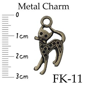 メタルチャーム 手芸用 ネコ FK-11 アクセサリーやファスナー飾りに 1ヶ入|inazumashop
