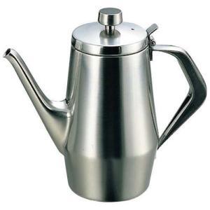 商品名:K 18-8 エルム コーヒーポット 1人用 オールステンレス 寸法:高さ115mm×底径:...