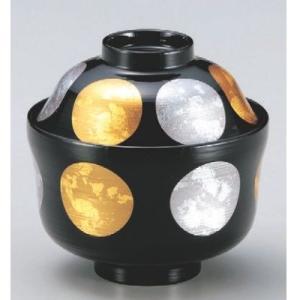 商品名:(小)ひさご吸椀黒刷毛目金銀日月 SH塗 寸法:高さ71直径:105 メーカー:若泉漆器 送...
