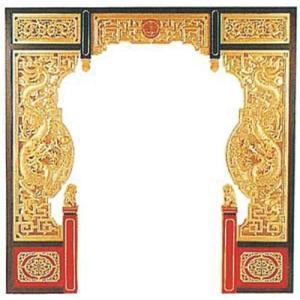 商品名:AW-2004 中国の門 龍と龍 両面透かし木彫 寸法:幅2440mm×奥行2440mm メ...