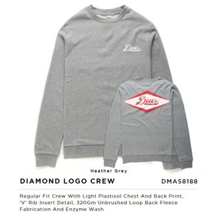 Deus ex Machina デウスエクスマキナDIAMOND LOGO CREW スウェット トレーナー Heather Grey DMA58188|infinisportsnetshop
