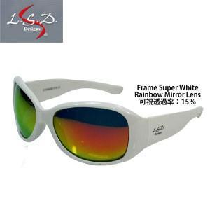●LSDデザイン 偏光サングラス Dフライマン スーパーホワイト/レインボーミラー 【まとめ送料割】