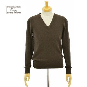 オールドダービー ニットウェア 【メンズ】 M8 BROWN Vネック ハイゲージ ニット セーター...