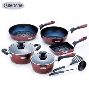 BRONANO(ブラナーノ) IH対応 鍋&フライパン 5点セット (お玉・ターナー付) BM-9532|infomart