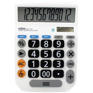 HDH 電卓 12桁 大型 くっきり見やすい数字 シンプル電卓 HDC-Y03 ホワイト infomart