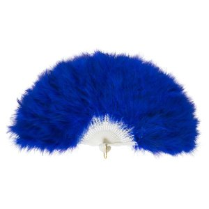 ふわふわ羽扇子/コスプレ衣装 〔ブルー〕 天然羽毛製 メイン部分約30cm 〔イベント〕|infomart