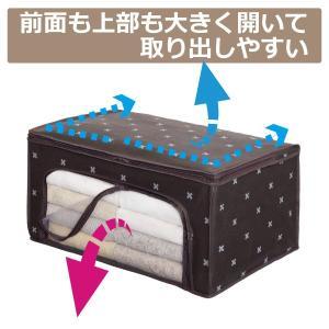 衣類 収納袋 防ダニ 防カビ 防虫 抗菌 加工 収納ケース 上部と前面が開いて取り出しやすい 押入れ クローゼット をスッキリ ブラウンクロス柄|iniko