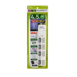ELPA(エルパ) LEDランプスイッチ付タップ 上挿し 4個口 5m ブレイカー付 WLS-LU4...