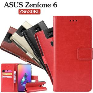 ASUSケース シンプル 手帳型 超耐磨 スマホケース レザー 人気 ZS630KLケース 高級 PUレザー zenfone 6ケース スタンド機能  薄型 革 皮 カード収納 薄型 ケース|initial-k