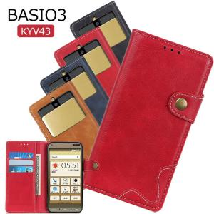 BASIO3 KYV43 ケース スマホカバー ベイシオ3 au 財布型 薄い 衝撃吸収 BASIO ベイシオ 3ケース TPU 可愛い ベイシオ3 BASIO 3ケース ビジネス 耐衝撃 軽量 initial-k