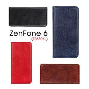 Asus ZenFone 6 (ZS630KL)ケース レザー ZenFone 6手帳型ケース 薄型 軽量 ZS630KL保護カバー マグネット式 磁石 ZenFone 6レザーケース シンプル|initial-k