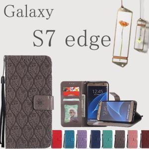 GALAXYS7 EDGE/galaxy s7 dege手帳型ケース 花柄 二つ折り 磁石 柔軟軽量...