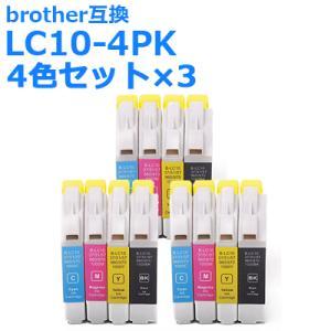 ブラザー 互換 インク LC10-4PK 4色組 お徳用3パック brother 10BK 10C 10M 10Y 各3個+黒3個付 送料無料|ink-bin