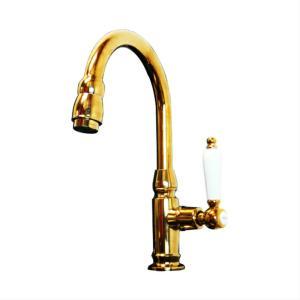 単水栓(洗面ボウル・洗面台・蛇口・陶器取っ手)金・ゴールド INK-0302044HT|ink-co