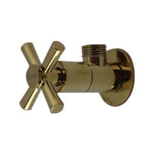 アングル止水栓(壁給水・おしゃれ・クロスハンドル)金・ゴールド INK-0304006G|ink-co