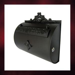 アンティークポスト半円タイプ  黒 (右開口・アイアンポスト・メールボックス・郵便受け) INK-15010046H|ink-co