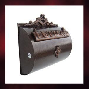 [過去取り扱った商品]アンティークポスト半円タイプ ブロンズ(左開口・アイアンポスト・メールボックス・郵便受け)spostbronze-L|ink-co