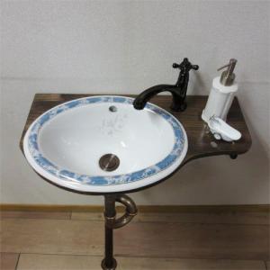 [過去取り扱った商品]【Eセット45】柄付き陶器ボウルが選べる化粧台セット(単水栓) ローズウッド TT043J-1401-0403-0302-0602|ink-co