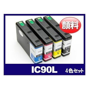 IC4CL90L Lサイズ 顔料4色セット プリンターインク エプソン EPSON IC90 シリーズ 互換インクカートリッジ {IC4CL90L-pg}|ink-revolution